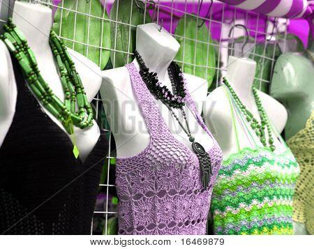 dressed mannequins in shop