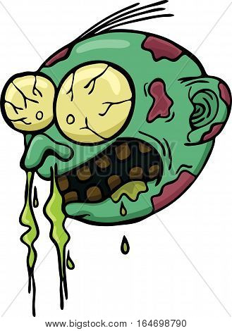 Cartoon illustration of zombie head getting cold. Vector horror character.