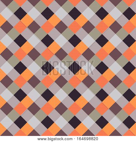 Seamless geometric checked pattern. Diagonal square, braiding, woven line background. Patchwork, rhombus, staggered texture. Orange, brown, gray colors. Winter theme. Vector