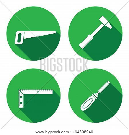 Tool icons set. Saw, hammer, chisel, angle. Repair, measuring instrument, fix carpenters work symbol. Round circle flat icon with long shadow. Vector