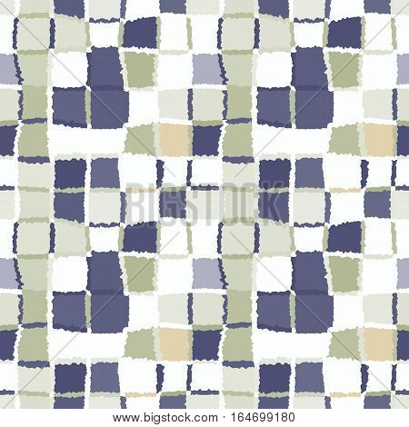 Seamless geometric mosaic checked pattern. Background of woven rectangles and squares. Patchwork, ceramic, tile texture. Khaki, beige, gray colors. Vector