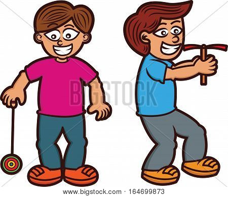 Boys Playing Traditional Toys Yo yo and Bamboo Copter Vector Cartoon Illustration Isolated on White