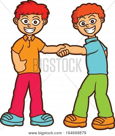 Boys Shaking Hands Cartoon Illustration Isolated on White