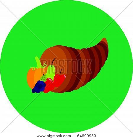 Fruit in horn cute icon in trendy flat style isolated on color background. Thanksgiving symbol for your design, logo, UI. Vector illustration, EPS10. Flat style.