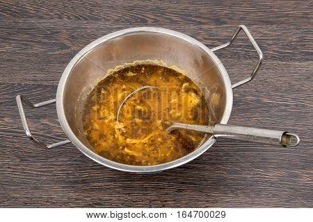 Traditional polish dish hot tripe delicious soupe