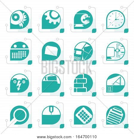 Stylized Computer, mobile phone and Internet icons -  Vector Icon Set