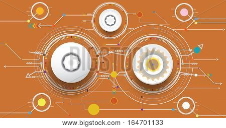 Vector illustration colorful and gear wheel on circuit board Hi-tech digital technology and engineering digital telecoms technology concept Abstract futuristic- technology on brown color background