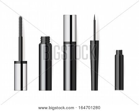Realistic makeup cosmetics set isolated on white background vector illustration. Mascara black sparkling open tube, wand and applicator. Decorative facial cosmetics products, beauty fashion makeup. Cosmetics product concept design