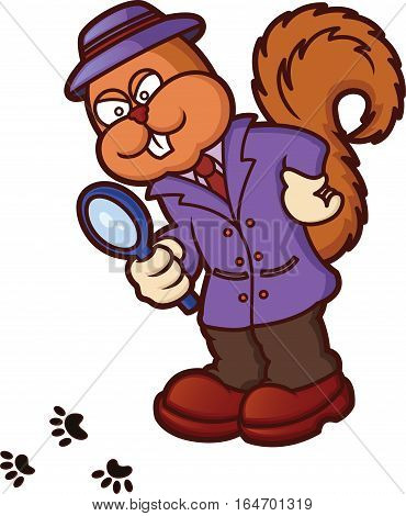 Squirrel Detective Investigating Cartoon Illustration Isolated on White