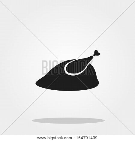 Roasted turkey for dinner cute icon in trendy flat style isolated on color background. Thanksgiving symbol for your design, logo, UI. Vector illustration, EPS10. Flat style.