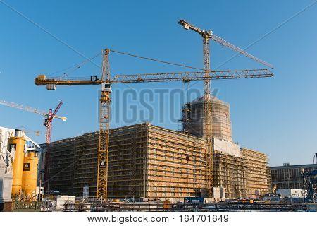 Berlin Germany -January 10 2017: The reconstruction of the Berlin City Palace (Stadtschloss / Humboldt Forum) in Berlin.