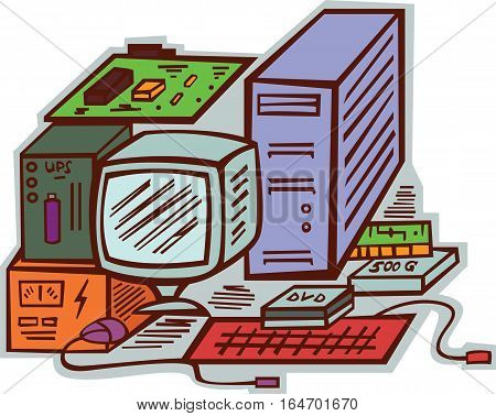 Computer Hardwares Components and Accessories Cartoon Illustration