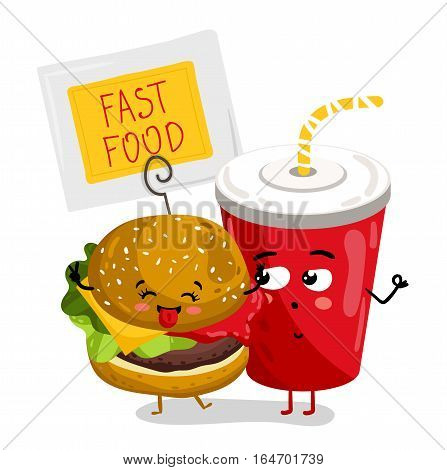 Cute take away glass with straw and burger cartoon character isolated on white background vector illustration. Funny fast food emoticon face icon. Happy smile cartoon face, comical cola and burger