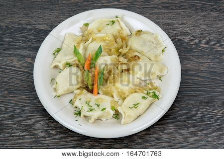 Traditional polish dish cooked pierogies with meat