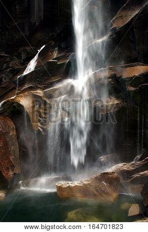 Misty waterfalls at Vernal Falls in Yosemite, CA. Taken in the fall season.