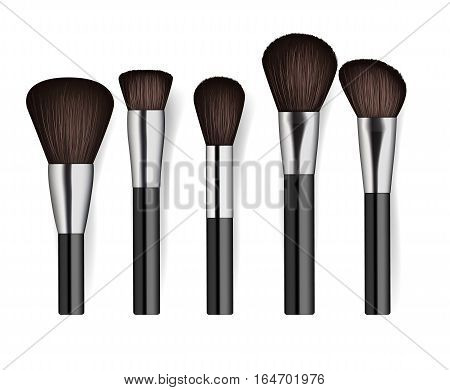 Realistic cosmetics brush set isolated on white background vector illustration. Facial makeup tools collection. Various fashion and beauty professional brush, decorative cosmetics concealer powder. Cosmetics product concept design
