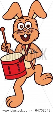 Rabbit Playing Drum Cartoon Illustration Isolated on White