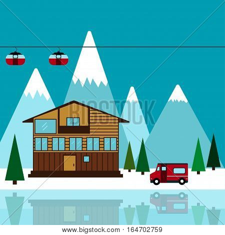 Mountain ski resort Vector illustration Landscape ski resort Chalet on the lake among the mountains and pine trees Flat design