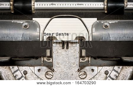 Dear Santa typed on an old typewriter.Close up view