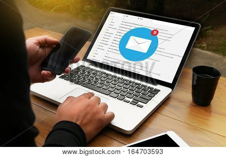 Man Use Computer Email Box Electronic Communication Email Correspondence  Message