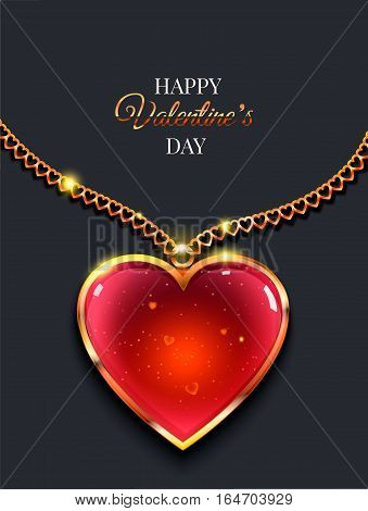 Heart on golden chain with light Valentine's day vector background.