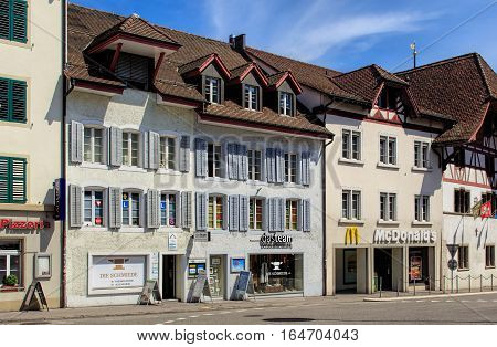 Aarau, Switzerland - 7 July, 2016: buildings in the historical part of the town. Aarau is a town and municipality in Switzerland, it is the capital of the Swiss Canton of Aargau.