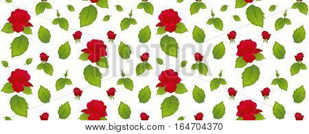 Red roses with green leaves on a white background. Vector pattern.
