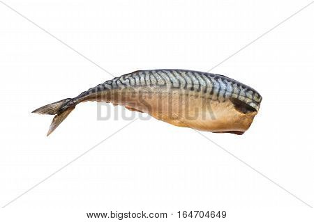 Smoked salted mackerel without head on an isolated background. Snacks Fish. Salted mackerel smoked home
