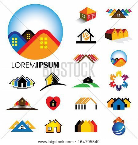 set of line icons of buildings vector logos. this also represents homes houses apartments and residential buildings rental property real estate buy sell icons etc