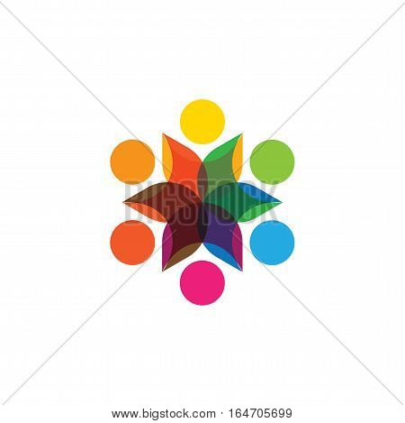 Abstract Colorful Six Happy People Vector Logo Icons As Ring