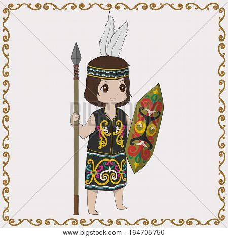 Dayak Indonesia girl holding a spear and shield vector illustration