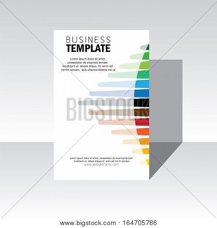 business brochure design cover - vector template. also design for annual report flyer leaflet poster on background white with colorful line strokes. stock-vector eps 10 format
