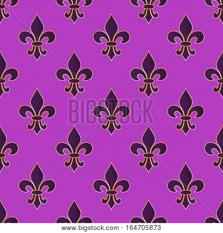 Mardi Gras Carnival seamless pattern with fleur-de-lis. Mardi Gras endless background texture wrapper. Vector illustration.