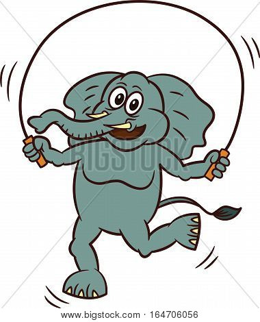 Elephant Playing Rope Jumping Cartoon Animal Illustration