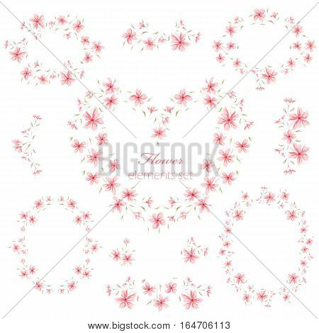 Floral frame collection. Set of cute retro flower wreath perfect for wedding invitations, birthday and valentine's day cards and your photo album. Sweet border and heart. Scrapbooking elements