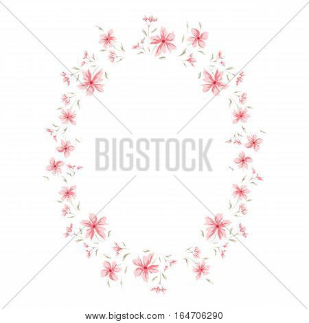Floral frame. Cute retro flowers wreath perfect for wedding invitations, birthday cardsand valentine's day and your photo album. Sweet round border. Scrapbooking element