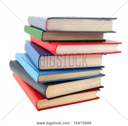 stack of books over white background