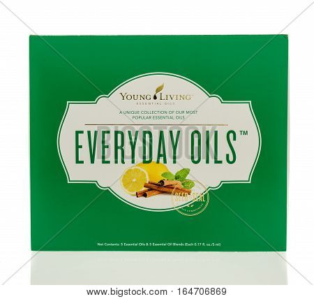 Winneconne WI - 1 January 2017: Box of Young Living popular essential oils on an isolated background.