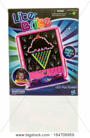 Winneconne WI - 8 January 2017: Box of a Lite Brite led flat screen on an isolated background.