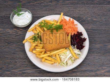 Fresh fish fillet prepared with french fries