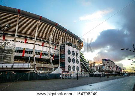 AMSTERDAM NETHERLANDS - JANUARY 03 2017: Amsterdam Arena stadium the largest stadium in Netherlands. Home stadium for AFC Ajax and the Netherlands national team. Amsterdam - Netherlands.