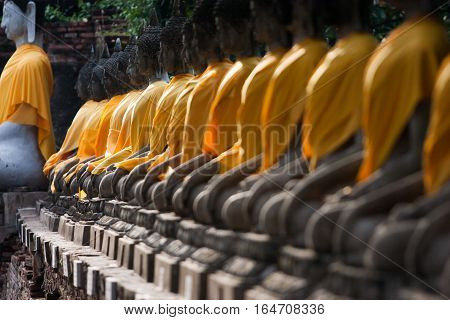 View of buddha statue in Thailand selective focus
