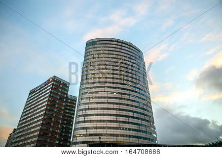 BIJLMER ARENA NETHERLANDS - JANUARY 03 2017: Modern architecture of business city. Biljlmer Arena (Amsterdam) - Netherlands.