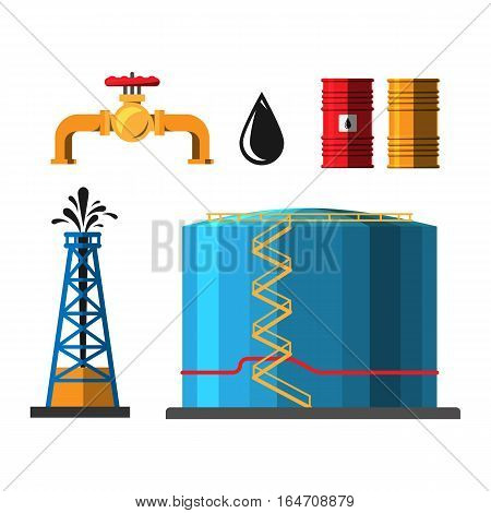 Set of oil industry production container extracting cartoon icons vector illustration. Energy processing platform. Petroleum industry technology design.