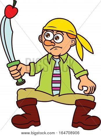 Pirate Stabbing Apple Cartoon Character. Vector Illustration.