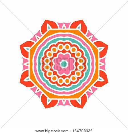 Circular background. Oriental pattern illustration. Flower round ornament. A stylized mandala. Beautiful ethnic, oriental kaleidoscope big bud. Stylized lace ornament. Vintage