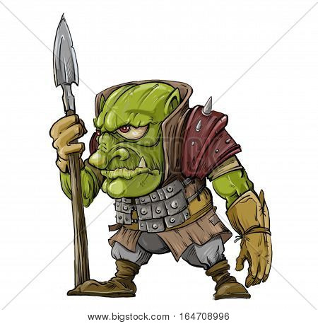 lightly armed warrior of the Goblin on white background illustration of a tale