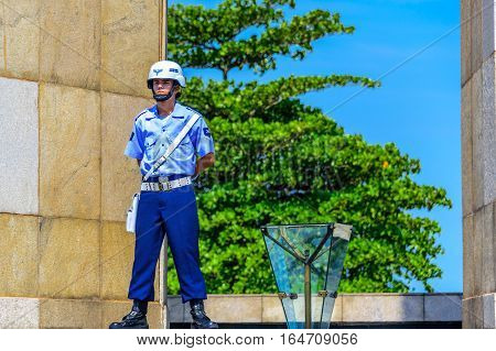 RIO DE JANEIRO, BRAZIL - JANUARY 07, 2017: Honor guard of the Brazilian Air Force guarding Eternal flame at the National Monument to the Dead of the Second World War in Flamengo Park
