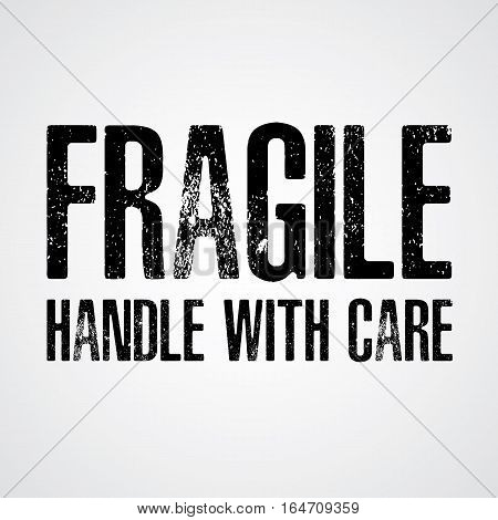 Fragile Black text on White and Grey background.