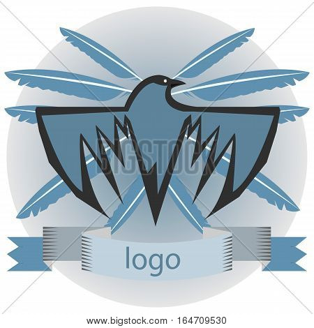 Blue raven with feathers and ribbons concept  logo